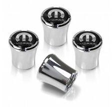 Mopar Silver on Black Logo Tire Valve Stem Caps Set of 4 MADE IN USA
