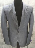 Corneliani Designer Gray Pinstripe Sport Coat Linen Silk 1 Button Fitted Sz 50L