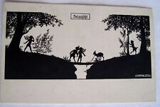 Delightful 1920's Signed Elsbeth Forck Fairies Postcard in Silhouette *