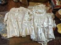 Baby Antique Handmade w/Embroidery Christening Gown, Coat, & Bonnet Cream EUC
