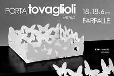 PORTA TOVAGLIOLI IN METALLO BIANCO DECORO FARFALLE 18*18*6CM CUCINA UMA-696152