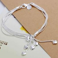 *UK* 925 SILVER PLT MULTI 5 LOVE HEART CHAIN CHARM BRACELET / BANGLE / ANKLET