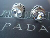 SILPADA RARE Sterling Silver 925 Scroll Bezel Cubic Zirconia CZ Earrings P1232 B