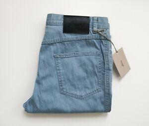 $725 BRIONI Sky Blue Thin Stretchy Cotton Blend Jeans Pants Size 32 US 48 Euro