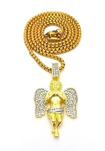 MENS 14K YELLOW GOLD GODS ANGEL JESUS PIECE CHARM PENDANT PEARL CHAIN NECKLACE