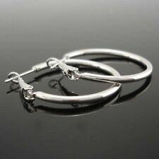 18k White Gold Filled Earrings 30mm Hoop Ring Smooth GF Charms Fashion Jewelry
