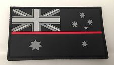 Thin Red Line Rubber/PVC Patch, Australian Flag Fire Brigade, Black, Hook Rear