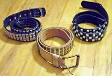 1990s-2000s Studded Belt Lot of 3 Burton Snowboards Leather Hot Topic Checkered