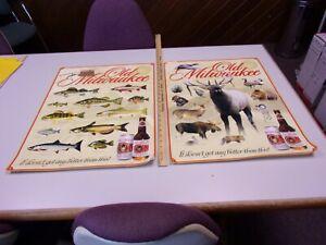 (2) Vintage 2004 Old Milwaukee 18x24 Beer Poster Fish Species Wild Life