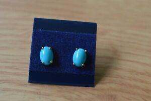1.45ct Arizona Sleeping Beauty Turquoise Stud Earrings 10K Yellow Gold 7x5mm