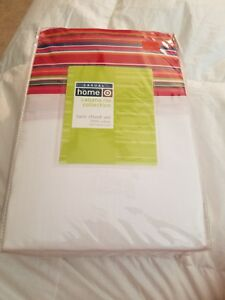 CASUAL HOME CABANA RIO COLLECTION WHITE/ STRIPED TWIN SHEET SET