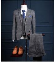 Men 3 Piece Classic Tweed Herringbone Check Tan Gray Strip Slim Fit Vintage Suit