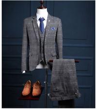 Men 3 Piece Classic Tweed Herringbone Check Gray Plaid Slim Fit Vintage Suit