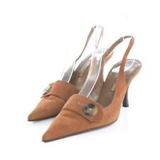 Sergio Rossi Brown Suede Pointed Toe Slingback Pumps Heels Womens 38.5 US 8.5