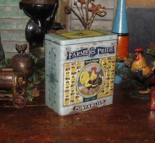 Primitive Antique Vtg Style French Country Shabby Butter Buscuit Chic Repro Tin
