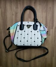 LUV BETSEY BY BETSEY JOHNSON Quiny Quilted Heart Satchel rainbow colors white
