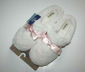 NEW Dearfoams Slippers Women's White Sexy Cozy Fluffy Fur XL 11-12 NWT Pink Bow