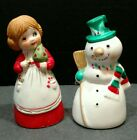 J.S.N.Y. Taiwan Bisque Porcelain Snowman Girl Bells Christmas Set 2 Vintage T2