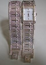 Mens Geneva Cross Silver Finish Nugget style bracelet fashion watch/bracelet set