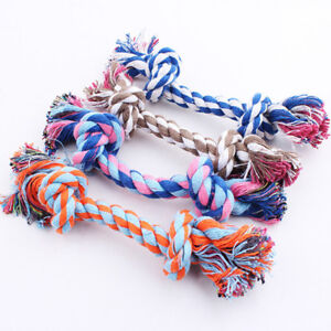 1Pc Pet Puppy Dog Cotton Knot Braided Teeth Clean Chew Toys Rope Random Color