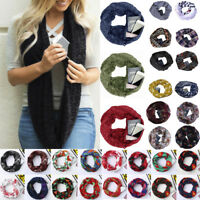 Winter Women Multiple Styles Infinity Scarf Pocket Loop Zipper Pocket Scarves US