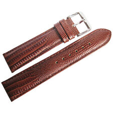 18mm deBeer Mens Havana Brown Teju Lizard-Grain Leather Watch Band Strap