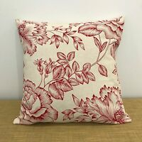 """French Provincial Red Floral Linen Cushion Cover. 16""""/18"""". Australian Made"""