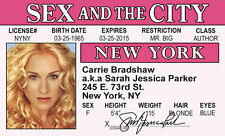 carrie bradshaw SEX IN THE CITY plastic ID Drivers License Sarah Jessica Parker