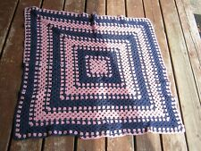 """Vintage Used Crohcet Square 31 1/2"""" x 34"""" baby blanket table cloth"""