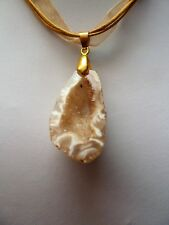 Gold colour Natural Agate Pendant Necklace Jewellery - sparkly crystal geode