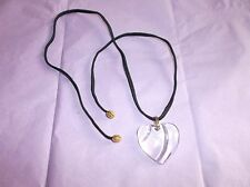 Baccarat Crystal Heart Pendant w/ Original Cord, France, Clear, Goldtone Bale