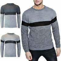 Mens Contrast Marl Long Sleeves Crew Neck Chunky Knitted Casual Sweater Jumper