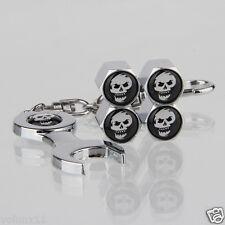 Happy Skull Car Air Wheel Tyre Valve Dust Caps Covers Spanner Keying Set of 4