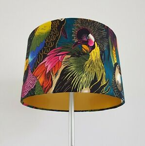 Bronze, Gold or Silver Lined Handmade Birds of Paradise Lampshade - Copper Light
