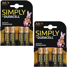 8 X Duracell Simply Aa 1.5v puissance Lot de Batteries Alcaline LR6 MN1500