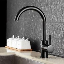 Round Black Matte Swivel Spout Basin Faucet Single Handle Kitchen Deck Sink Tap