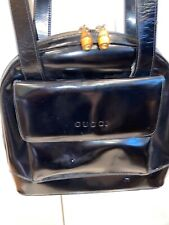 GUCCI Hand Bag Black Leather Vintage With Bamboo Zippier Pulls