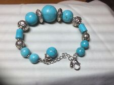 Turquoise Beaded Bracelet. Southwestern Silver and
