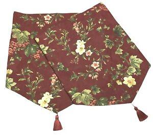2 Waverly Ascot Valances Chianti Cabernet 52 x 23 Tassel Burgundy Red Floral Pr