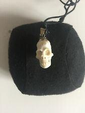 Mens/Womens Antique Carved Bone Mini Skull Necklace Taxidermy Death Gothic