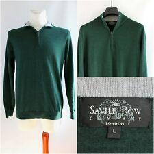 Savile Row Company 1/4 Zip  Sweater Wool Rich Blend Green Mens England Classic