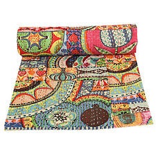 Indian Throw Bedding Bedspread Queen Kantha Quilt Bohemian Reversible Blanket
