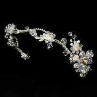 Silver Swarovski Crystal Flower Rhinestone Bridal Wedding Headband Prom Tiara