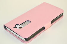 Pink Genuine Leather Wallet Card Case Cover Stand for LG G2, Holds Card Cash