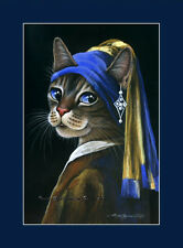 Tabby Cat Print Girl With Pearl Earring from an original by I Garmashova