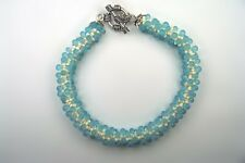 Aqua and Cream Speckle Bracelet