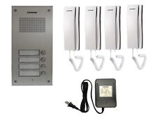 COMMAX Audio Intercom KIT. 1x 4 Buttons Panel, 4x Audio Phone,1x Power Adapter