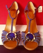 Marc Jacobs blue suede leather crystal flower T-strap dress sandals size 9 new