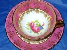 Vintage Stanley Gold Chintzy Hot Pink Rose Floral Center Tea Cup and Saucer Set