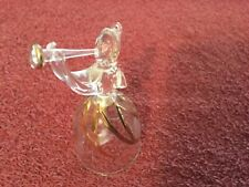 Ting Glass Gold Trim Angel w/Horn Bell